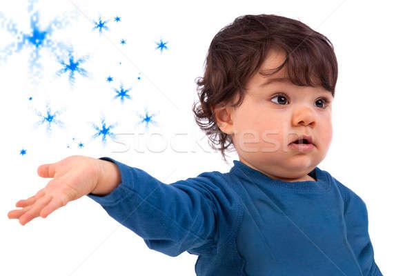 Belo bebê branco azul estrelas Foto stock © alexandrenunes
