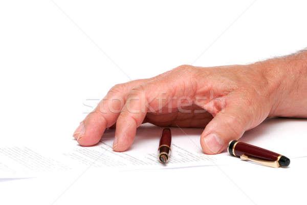 стороны бумаги авторучка изолированный белый служба Сток-фото © alexandrenunes