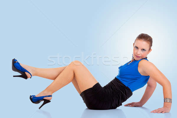 beautiful and happy middle-age woman, on the floor Stock photo © alexandrenunes