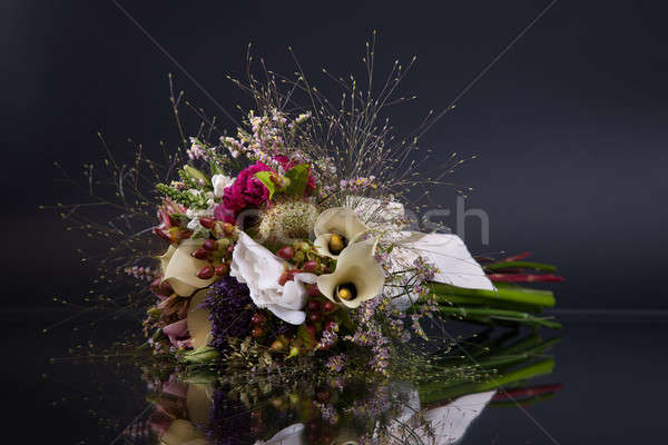 bunch of flowers, with reflexion, on black Stock photo © alexandrenunes