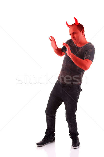 devil, with hands up as a sign of move away, defensive Stock photo © alexandrenunes