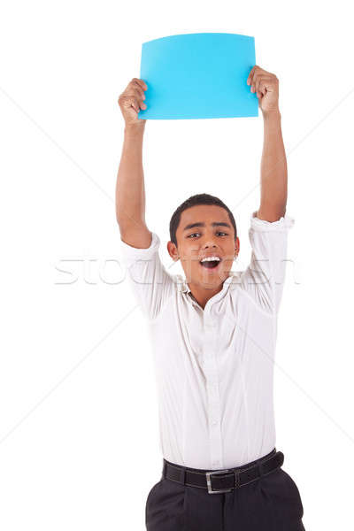 happy young latino man, raised arms with blue card in hand Stock photo © alexandrenunes