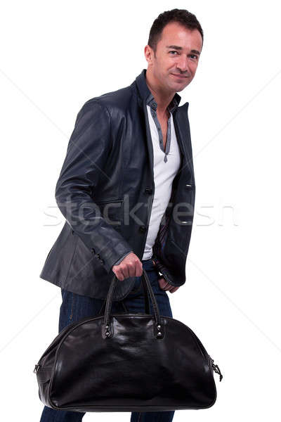 Retrato homem maduro bolsa isolado branco Foto stock © alexandrenunes