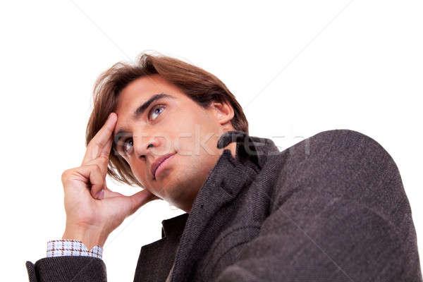 Retrato jovem empresário pensando roupa isolado Foto stock © alexandrenunes