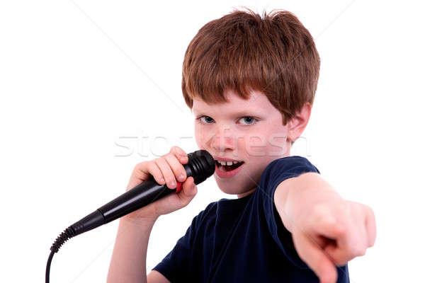 Cute chłopca mikrofon odizolowany biały Zdjęcia stock © alexandrenunes