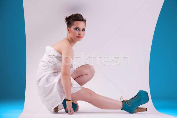 Mutlu güzel bir kadın zemin kadın kız Stok fotoğraf © alexandrenunes