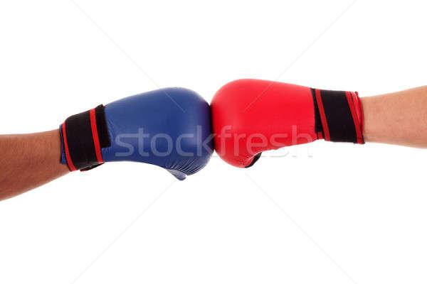 Kettő boxeralsó érintés kesztyű kész kezdet Stock fotó © alexandrenunes