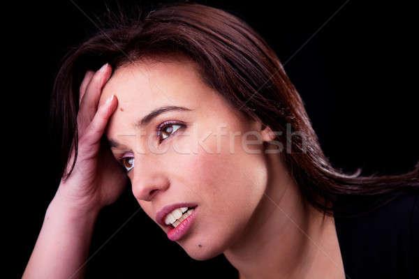 Mulher dor de cabeça preto mão cabelo Foto stock © alexandrenunes