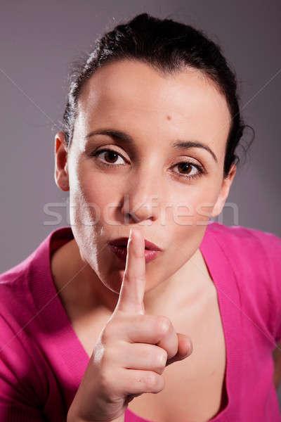 Genç kadın sessizlik kadın kız Stok fotoğraf © alexandrenunes