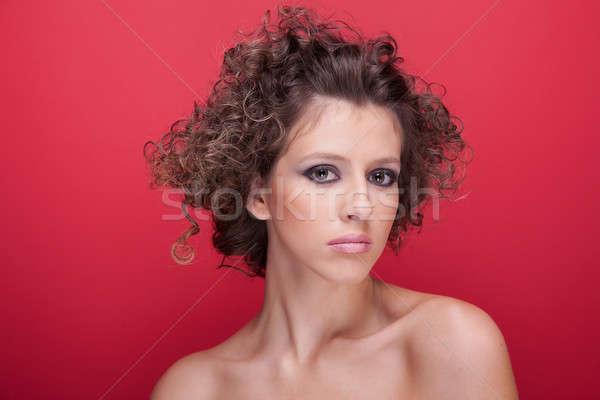 Jovem bela mulher cabelos cacheados vermelho menina Foto stock © alexandrenunes