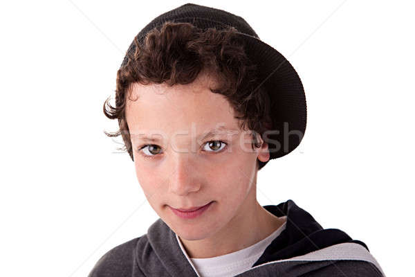 Bonitinho menino boné sorridente olhos retrato Foto stock © alexandrenunes