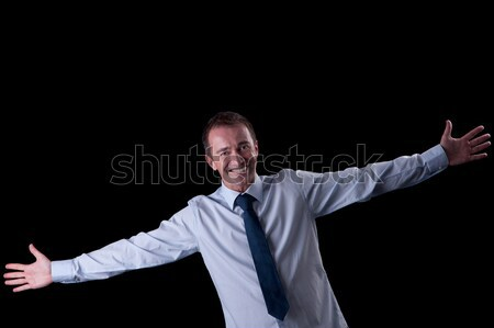 happy man with open arms, isolated on white Stock photo © alexandrenunes