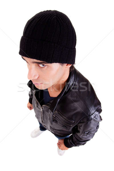 handsome man with a hood view from above Stock photo © alexandrenunes