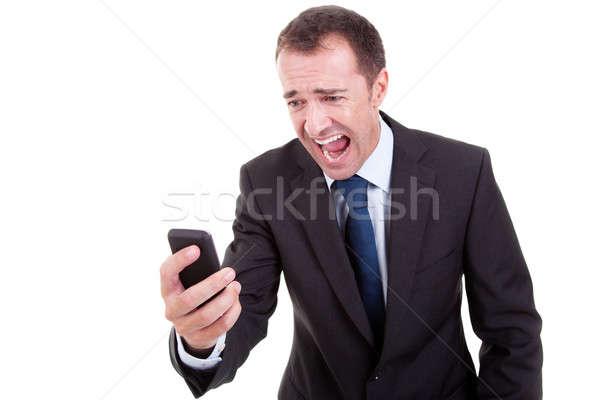 Empresário telefone isolado branco cara feliz Foto stock © alexandrenunes