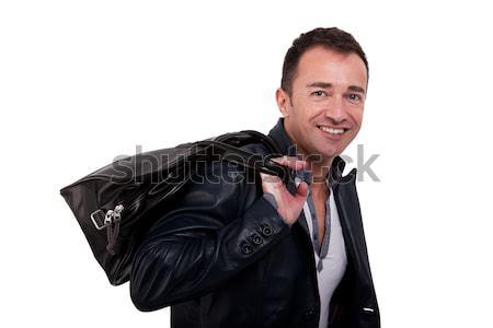 Retrato homem maduro abrir bolsa isolado branco Foto stock © alexandrenunes