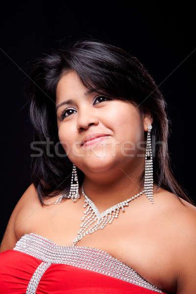 Boldog nagy nő jólöltözött izolált fekete Stock fotó © alexandrenunes