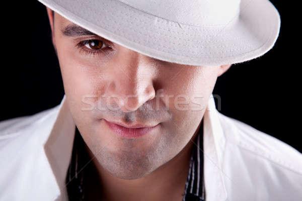 Retrato homem branco seis isolado preto Foto stock © alexandrenunes