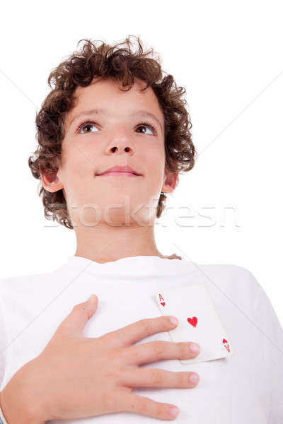 cute boy showing an ace of hearts, in place of the heart Stock photo © alexandrenunes