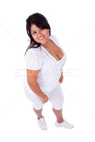 happy and casually dressed large latin woman Stock photo © alexandrenunes