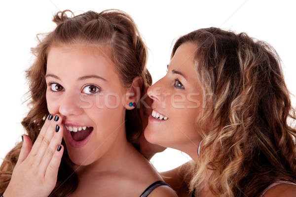 mother telling a secret to his daughter admired Stock photo © alexandrenunes