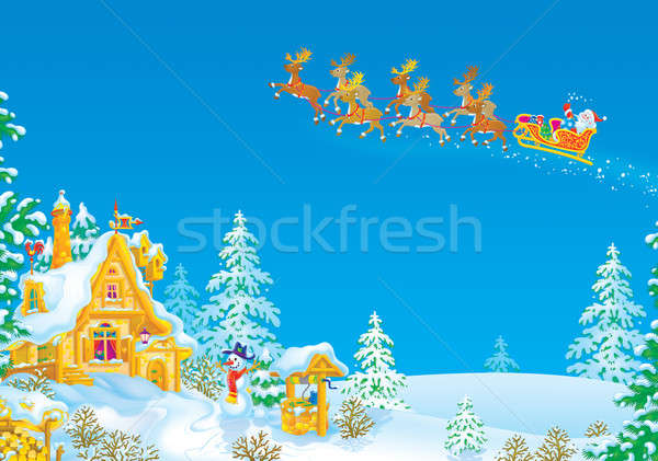 Slee kerstman christmas geschenken slee Stockfoto © AlexBannykh