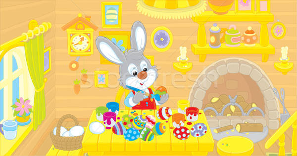 Mały bunny Easter Eggs królik wakacje kuchnia Zdjęcia stock © AlexBannykh