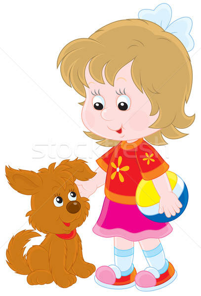 Meisje meisje spelen bruin puppy Stockfoto © AlexBannykh