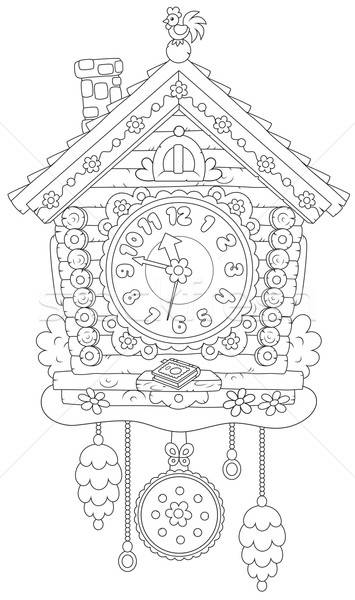 Koekoek klok speelgoed horloge zwart en wit vector Stockfoto © AlexBannykh