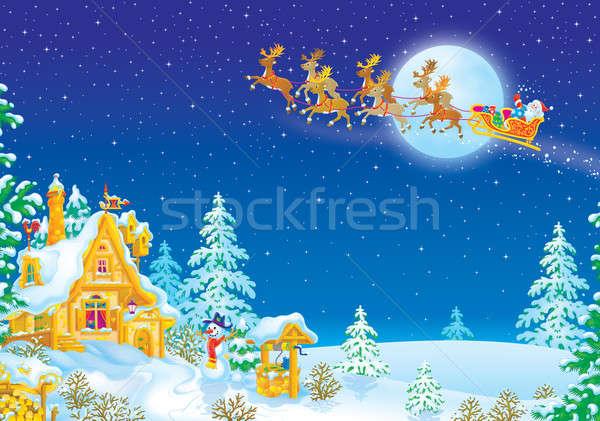 Noc christmas Święty mikołaj prezenty sanki nieba Zdjęcia stock © AlexBannykh