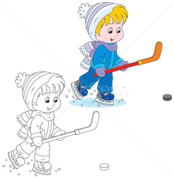 Pequeno menino patins hóquei vara Foto stock © AlexBannykh
