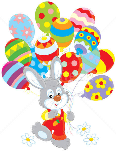 Easter Bunny with balloons Stock photo © AlexBannykh