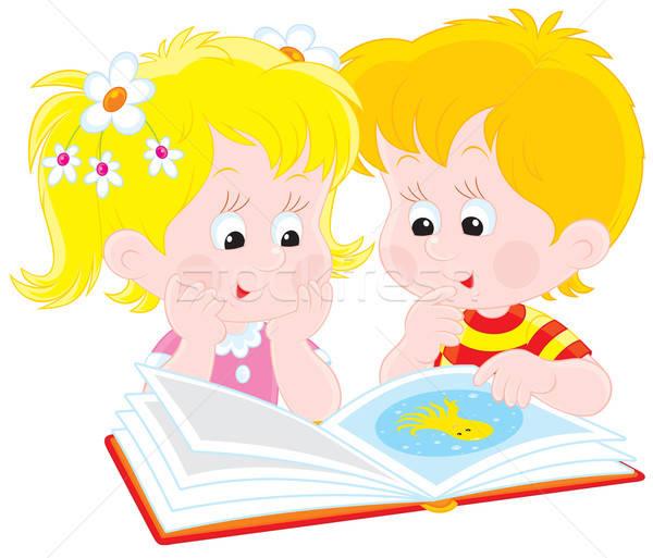 Stockfoto: Meisje · jongen · lezen · boek · vector · clipart