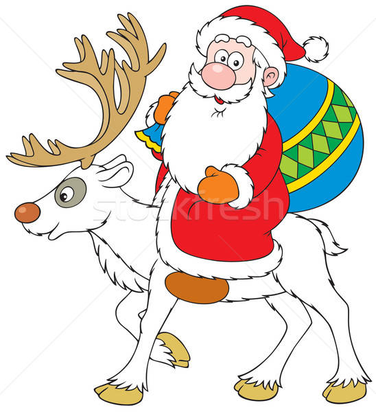Santa Claus riding on Reindeer Stock photo © AlexBannykh