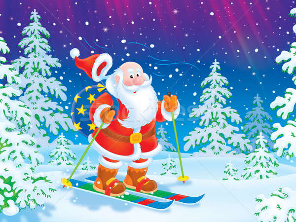 Santa Claus skiing with a toy sack Stock photo © AlexBannykh