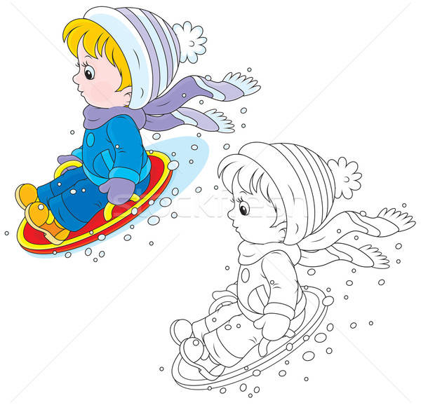 Child on an ice-boat Stock photo © AlexBannykh