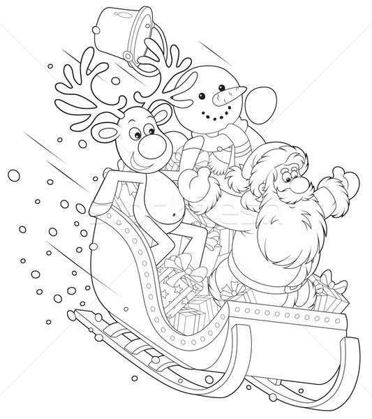 Rena boneco de neve papai noel deslizar para baixo Foto stock © AlexBannykh