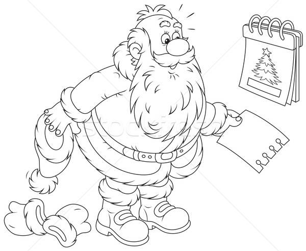 Santa Claus and tear-off calendar Stock photo © AlexBannykh