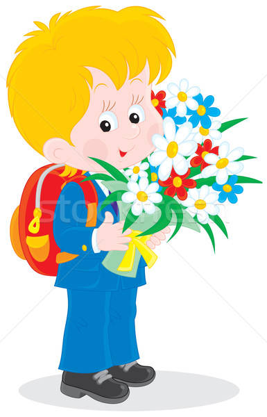 Stock photo: Schoolboy with flowers