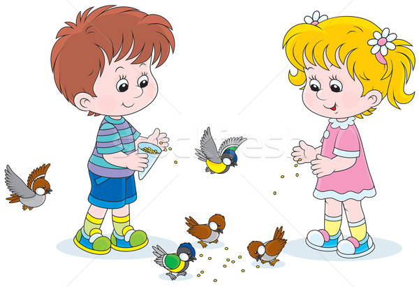 Children feed small birds Stock photo © AlexBannykh