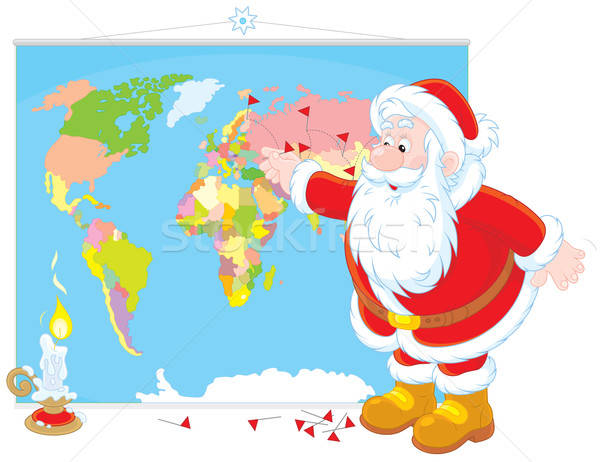 Santa Claus with a world map Stock photo © AlexBannykh