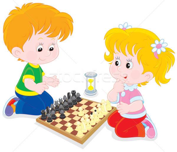 Dzieci grać szachy mały chłopca dziewczyna Zdjęcia stock © AlexBannykh