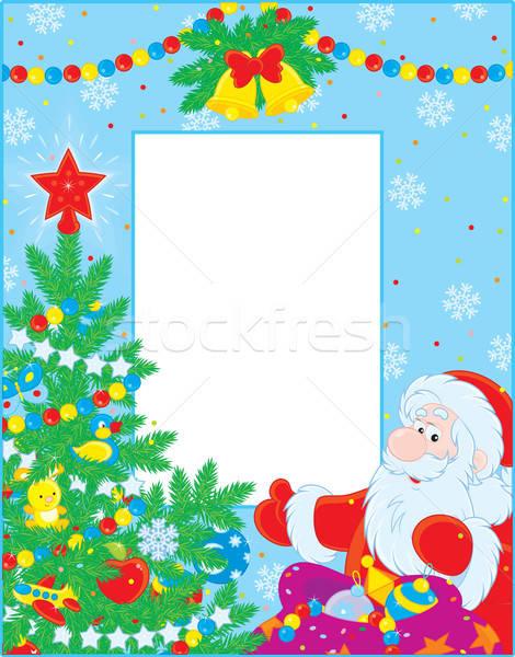 Karácsony keret színes mikulás karácsonyfa tél Stock fotó © AlexBannykh