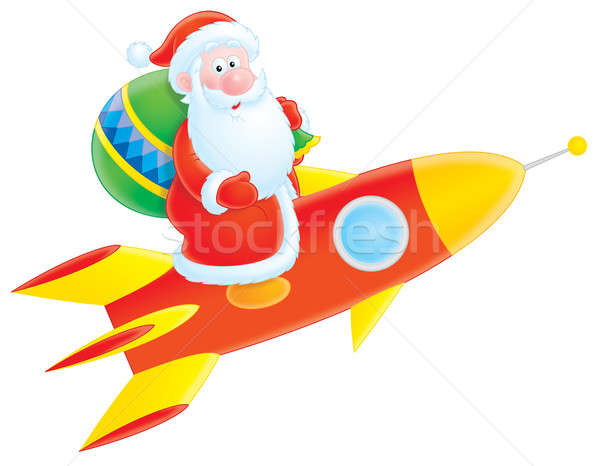 Papai noel foguete ilustração voador Foto stock © AlexBannykh