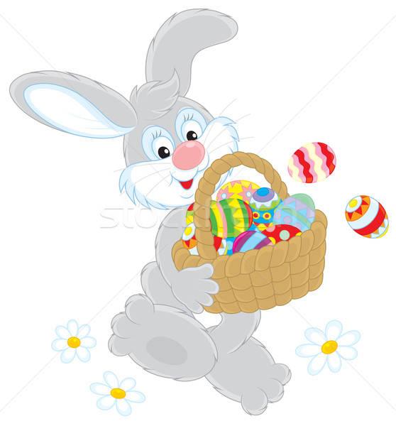 Húsvéti nyuszi kosár tojások szürke nyúl barátságos Stock fotó © AlexBannykh