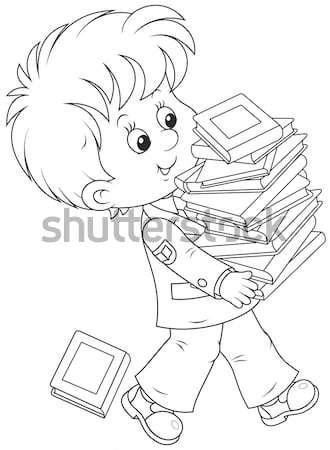 Schoolboy preparing for school Stock photo © AlexBannykh