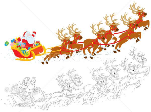 Szánkó mikulás karácsony ajándékok szín illusztrációk Stock fotó © AlexBannykh