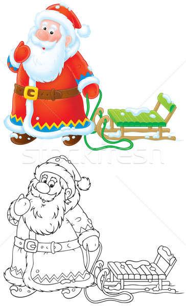Santa Claus pulling a sleigh Stock photo © AlexBannykh