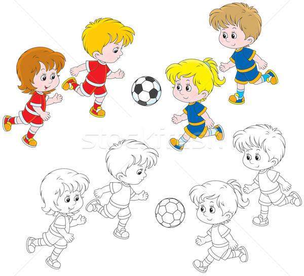 Сток-фото: детей · играет · футбола · мало · мальчики · девочек