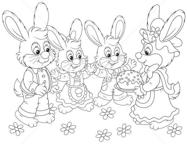 Bunnies with an Easter cake Stock photo © AlexBannykh