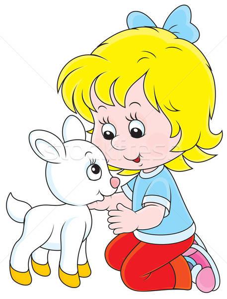 Girl with a white kid Stock photo © AlexBannykh